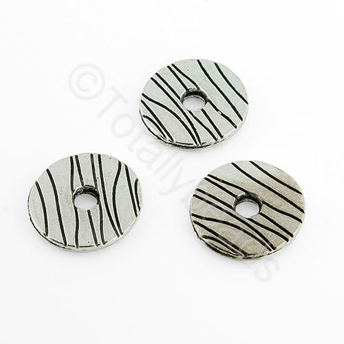 Antique Silver Metal Bead - Striped Disc 14mm 15pcs - H1244