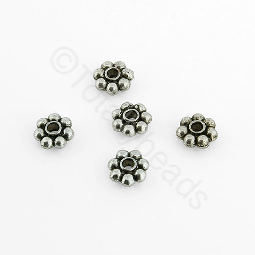 Tibetan Silver Bead - 5mm Flower Spacer