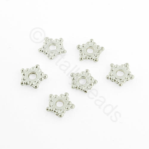 Silver Plated Bead - Flat Pentagon Star