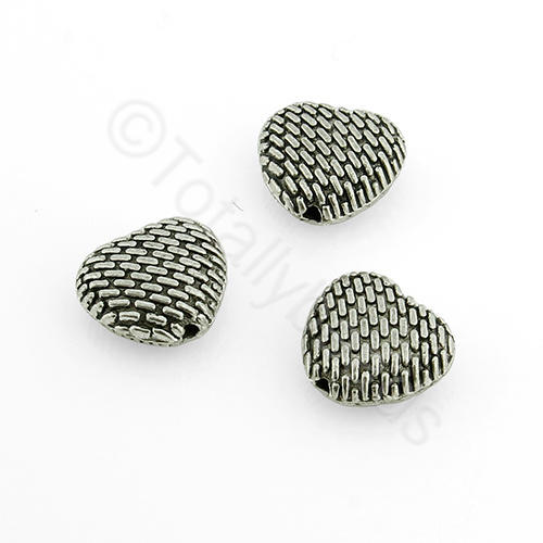 Tibetan Silver Bead - Heart 10mm (YJ383)