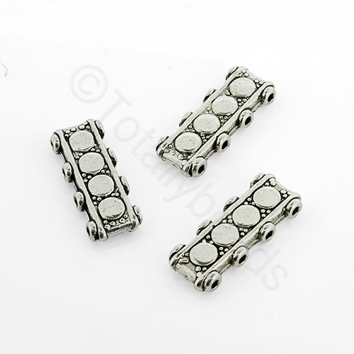 Antique Silver Metal Spacer 17x6mm 4 Hole 16pcs