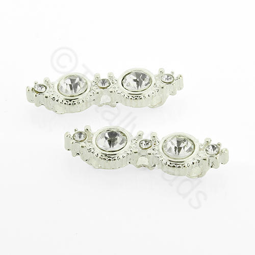 Silver Metal Connector - 3-strand Crystal 30mm - 3pcs