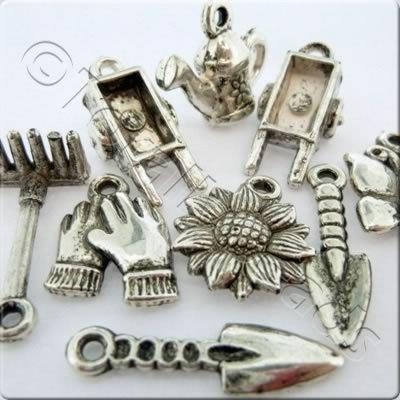 Acrylic Charms - Antique Silver - Gardening