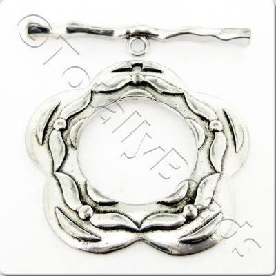Tibetan Silver Toggle - Extra Large Flower
