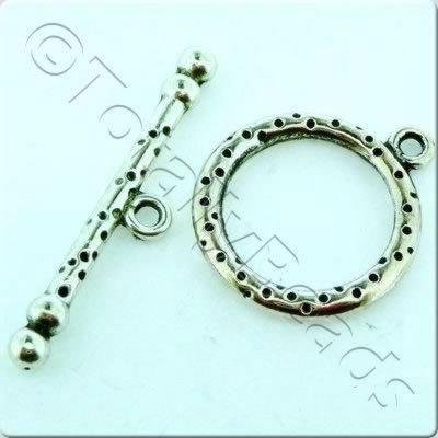 Tibetan Silver Toggle - Spotty Ring 20mm