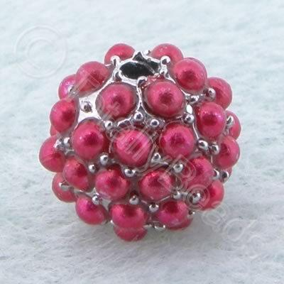 BeadyBall Bead - Silver and Fuschia