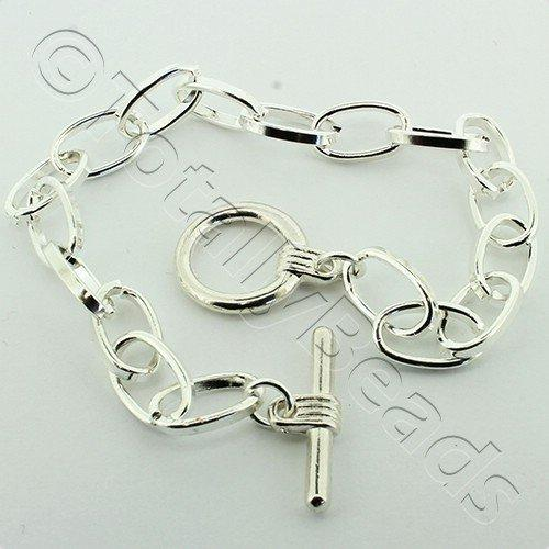 Chain Bracelet - Silver Plate - Big Link with Toggle Clasp