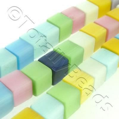 Cats Eye Bead - Cube 8mm - Mixed