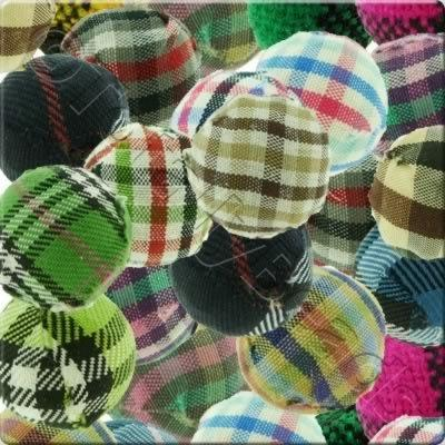 Chequered Cloth Bead 20mm - 10 Mixed Pack