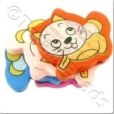 Childrens Wooden Bead - Kitten