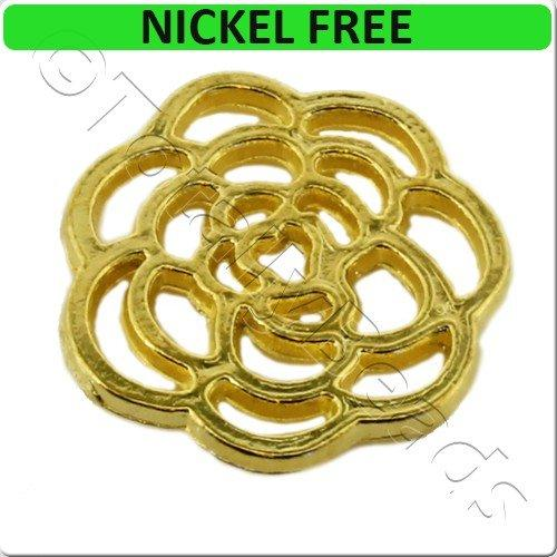 Gold Metal Connector Rose Disc 16mm 15pcs