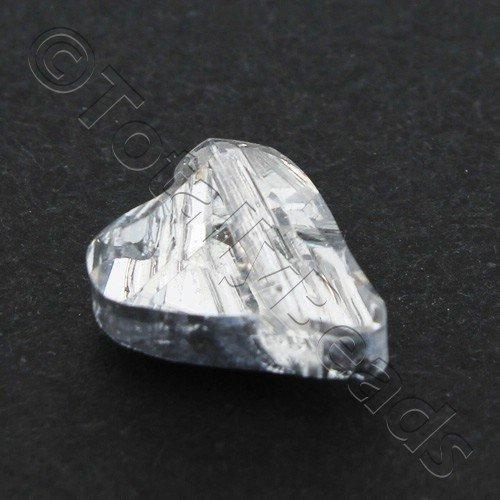 Crystal Wild Heart 12mm 10pcs - Half Silver Plate