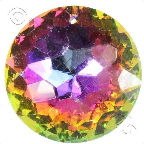 Crystal Pendant - Disc 30mm - 8 Point Rainbow B