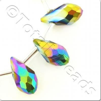 Crystal Drop Top Drilled 6x12mm - Rainbow Plated