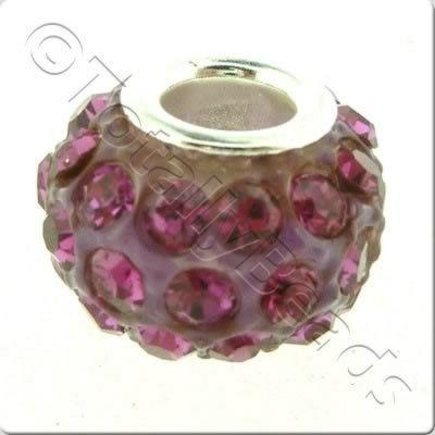 Diamante Large Hole Bead - Fuchsia