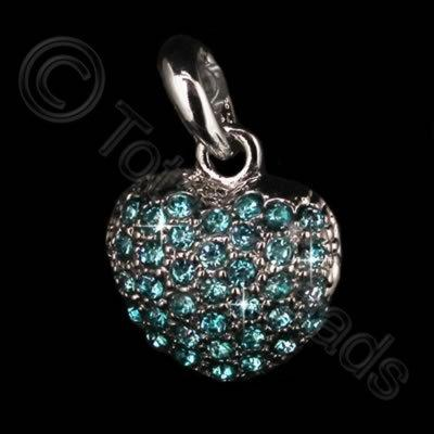 Diamante Pendant - Small Heart - Aqua