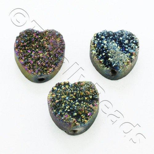 Druzy Bead Heart 12mm - Rainbow Plate