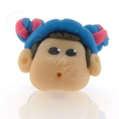 Fimo Doll Bead - Girl Blue Baret