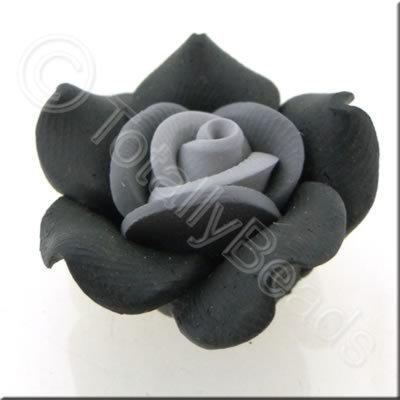 Fimo Flower Bead 28mm - Black