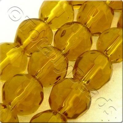 Glass Facet Round 6mm Amber