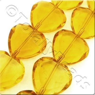 Glass Heart 22mm - Amber