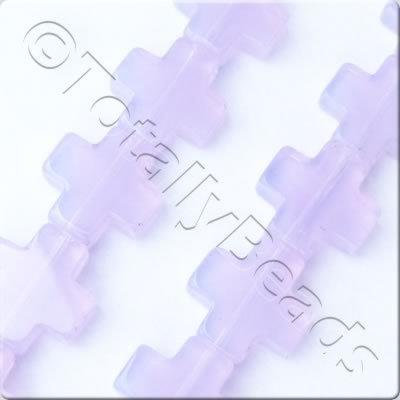 Glass Cross - 12x12mm - Opaque Lilac - 28pcs