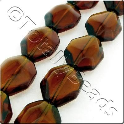 Glass Long Octagon - 17x14mm - Dark Brown - 19pcs
