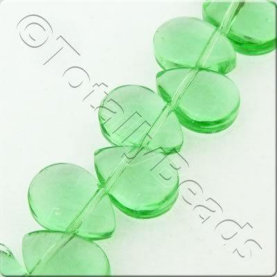 Glass Top Drilled Drop - 8x11mm - Forest Green - 47pcs