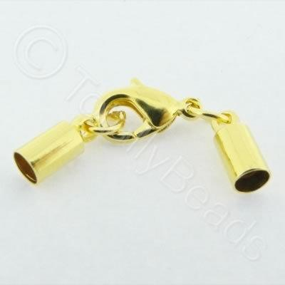 Kumihimo 4mm Barrel Lobster Clasp Gold - 2 sets