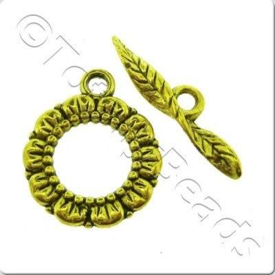 Tibetan Gold Toggle - Leaf Ring 17mm A11359