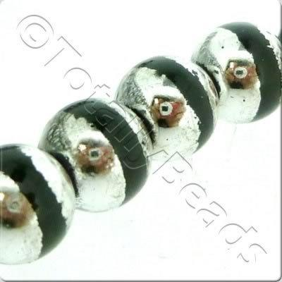 Half Silver Round Glass Bead - Black