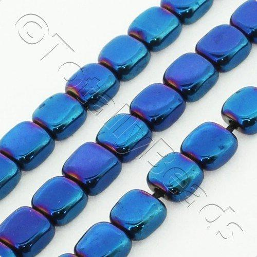 Hematite Flat Square 4mm - Blue Plated