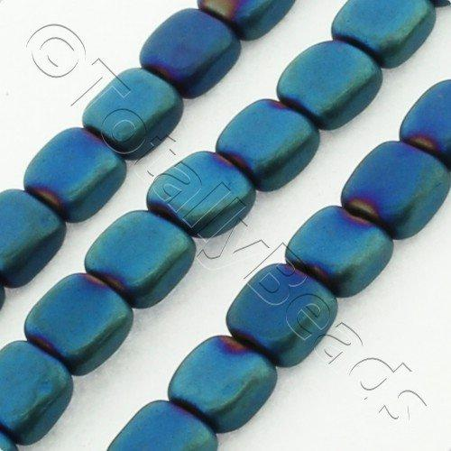 Hematite Flat Square 4mm - Matt Blue Plated