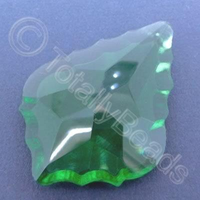 Glass Pendant Leaf Drop Green - 62mm
