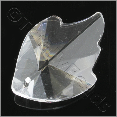 Glass Pendant Facet Leaf 31mm - Clear