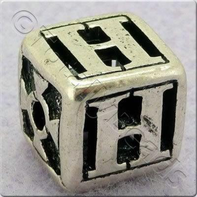 Tibetan Silver Letter Cube Bead - H