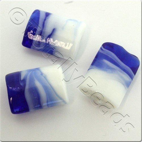 Lampwork Glass Bead Rectangle 21mm - Blue White Swirl