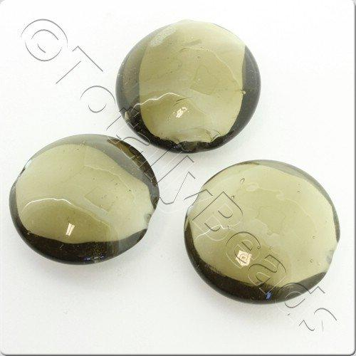 Lampwork Glass Beads 27mm - Grey Disc