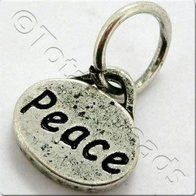 Tibetan Silver Message Tag/Charm - Peace
