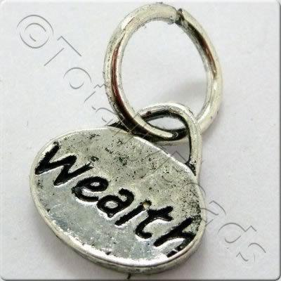Tibetan Silver Message Tag/Charm - Wealth