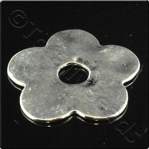 Tibetan Silver Flower Disc 35mm - 2pcs