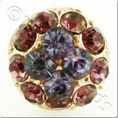 Metal-base Crystal Button - Round Amethyst