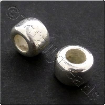 Metalised Acrylic Bead Pony 8x6mm - Silver 80pcs
