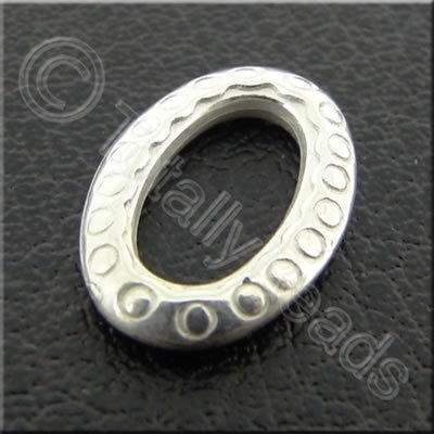 Metalised Acrylic Spacer Ring Oval - 9x13mm - Silver 150pcs