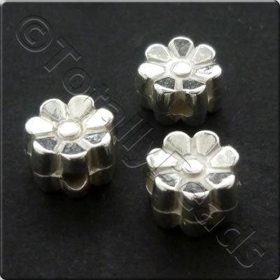 Metalised Acrylic Bead Flower 7x4.5mm - Silver 100pcs