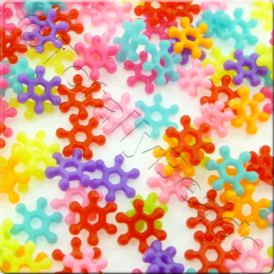 Acrylic Snowflake Spacers - 8mm - Mixed colour - 500pcs