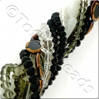 12 Strings Glass Bead Mix - Black Grey Clear