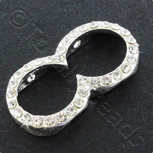 Silver Metal Figure 8 Rhinestone Spacer Ring 29x15mm