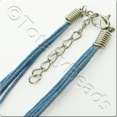 Wax Cotton Cord Necklace - Blue