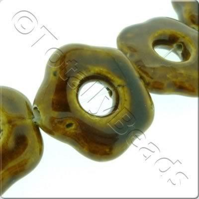 Ceramic Beads - Hollow Flower 35mm - Brown